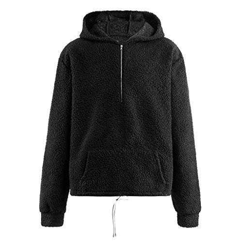 Sunhusing Men's Hooded Zip Pocket Solid Color Double-Sided Plush Cozy Hoodie Outwear Jacket