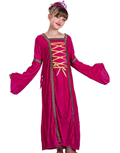 FantastCostumes Child's Deluxe Victorian Princess Costume Pretty Dress(Rose Red, Large) (Woman Pretty Costume Dress)