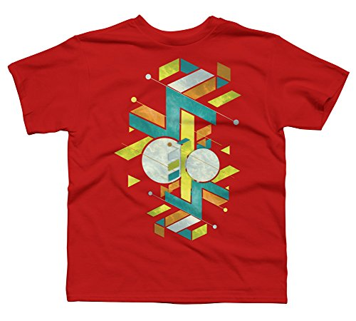 geometric upgrade Boy's Small Red Youth Graphic T Shirt - Design By Humans