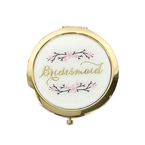 Cherry Blossom Bridesmaid Round Mirror Compact, Cream - Bridesmaid Compact