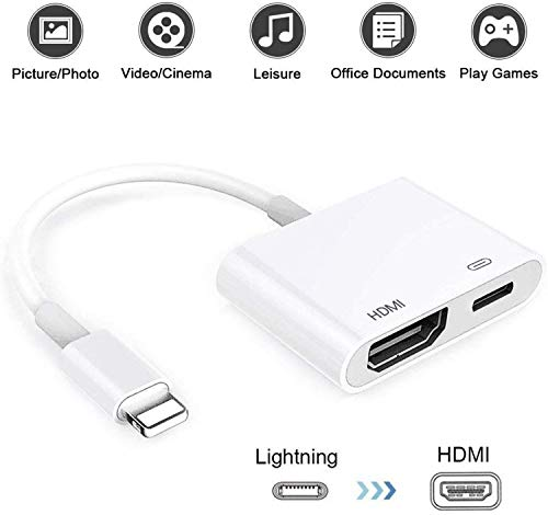 Lἱghtning to HDMI Cable Adapter, Lἱghtning to 1080P Digital AV HDMI Cable, 1080P HD TV Connector Adapter Cable, Screen HDMI Connector for iPhone Xs Max XR 8 7 6Plus, iPad Pro to TV Projector Monitor