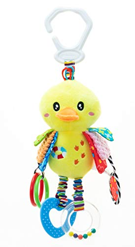 (Duck Baby Hanging Toys:3-6 Month,1-3 Year Old Toys for Car Seat, Stroller, Baby Cot, Crib; Yellow Duck Toy for Newborn, Infant, Toddler,Babies with Crinkle, Rattle, Teether,Squeaker,Safety Mirror)