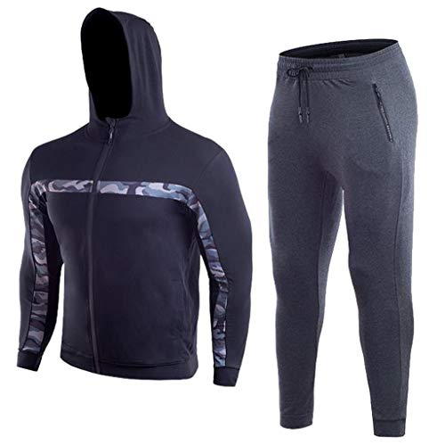Men's Gym Contrast Jogging Full Tracksuit Hoodies Joggers Camouflage Sweat Bodybuilding Zipper Tight-drying Top Pants from Hotcl