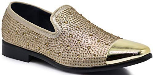 608503414d7 SPK12 Men s Vintage Fashion Sparkle Rhinestone Patent Toe Designer Dress  Loafers Slip On Shoes Classic Tuxedo