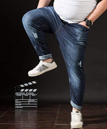 Grandes Pantalones Casuales Mezclilla De Tamaños Cómodo Jeans Hombres Stretch Los Vendimia Vaqueros Battercake E Dunkelblau Flojos La Ocasionales Plus TzP4xqddFw