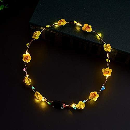 diadema intermitente guirnalda de luces 5 diademas de flores LED intermitentes para ni/ñas con LED para iluminar flores color aleatorio