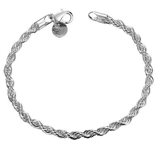 Greendou Fashion Jewelry 925 Sterling Silver 4 mm Twisted French Rope Chain Bracelet Size 8 inches