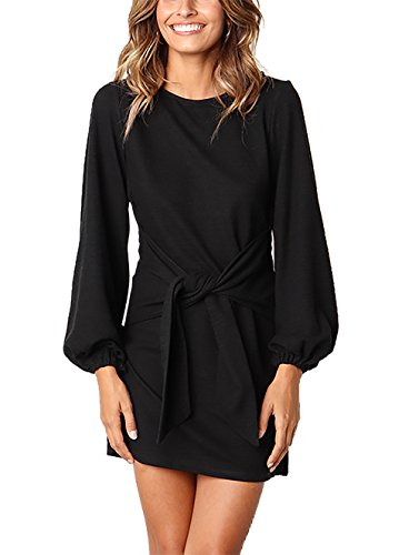 PRETTYGARDEN Women's Elegant Lantern Sleeve Crewneck Wear to Work Midi Dress with Wide Belt