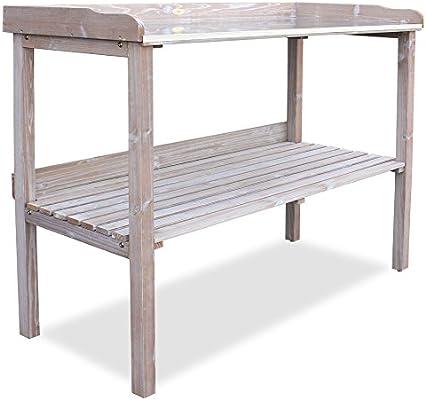 HABAU 3108 - Mesa de jardín con encimera galvanizada, Madera de ...
