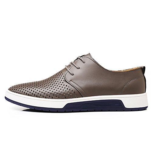 Flat Dress Shoes Gray Lace Casual Lk Fashion Breathable Shoes up Men's KONHILL Oxford WAT7X7q