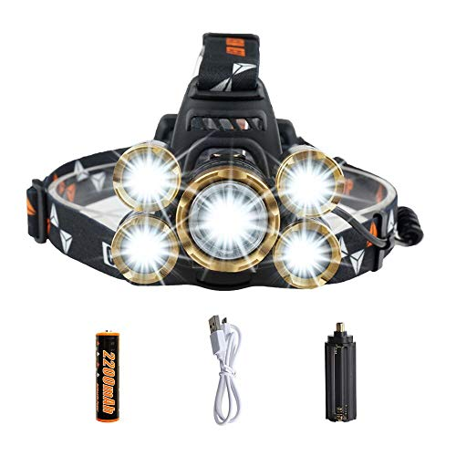 LED Headlamp Flashlight,COSOOS Rechargeable Headlamp with Red Safety Light, 3800 Lumen Brightest 4-Mode Headlight, Waterproof, Zoomable Headlamp for Adults, Hard Hat, Working, Battery -