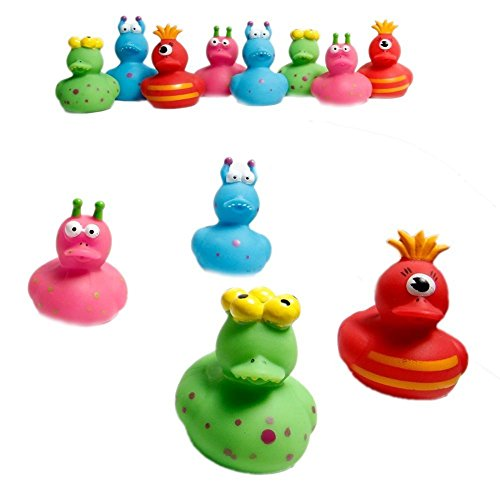 Fun Express Vinyl Monster Rubber Ducks | 2-Pack (24 Count) | Great for Birthday or Halloween-Themed Parties -