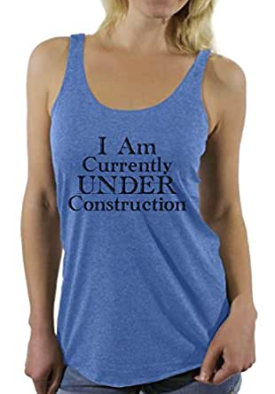 Awkward Styles Women's I Am Currently Under Construction Gym Graphic Racerback Tank Tops Workout Blue S