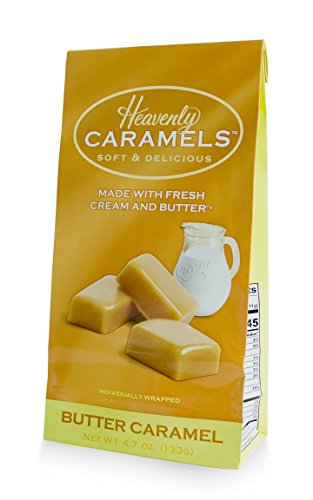 J Morgan Confections Heavenly Caramels, Butter Flavor (4.7 oz bag); Gourmet, Artisan Soft and Chewy Butter Caramel Candies, Creamy and Smooth, Hand-Crafted Golden ()