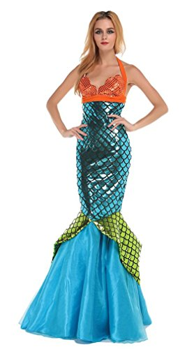May Flower Women's Gorgeous Sequin Bandeau Dress Mermaid Halloween Costume -
