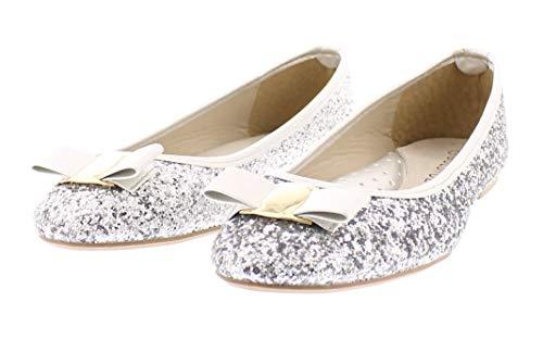 Gold Toe Women's Tempest Metallic Sequin Sparkle Ballet Flat Slipon Dress Pump Bow Ballerina Skimmer Shoe Silver 7 US ()