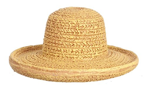 Dollhouse Miniature Realistic Wide Brimmed Straw Hat in Resin from Town Square Miniatures