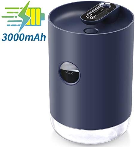 1000ML Portable Small Humidifier, 3000mAh Rechargeable Battery, Soft Night Light, Quiet, Compact, Auto Shut-Off, Digital Display Mini Mist Humidifier for Bedroom Home Office Desktop Travel