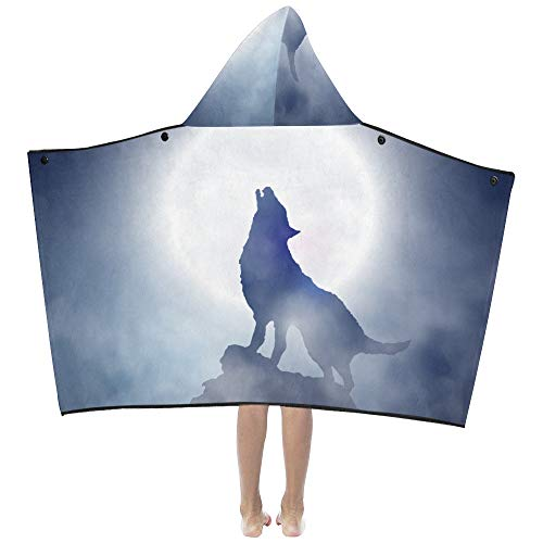 Creepy Wolf Howling at Midnight Full Moon Soft Warm Cotton Blended Kids Dress Up Hooded Wearable Blanket Bath Towels Throw Wrap for Toddlers Child Girls Boys Size Home Travel Picnic Sleep Gifts Beach