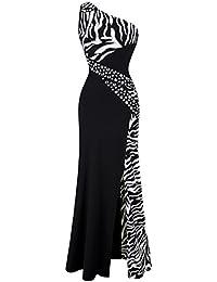 Womens One Shoulder Zebra Gemstones Splicing Evening Dress
