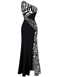 Angel-fashions Women's One Shoulder Zebra Gemstones Stitching Evening Dress