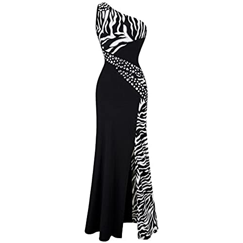 Angel fashions womens one shoulder zebra gemstones splicing evening dress small black