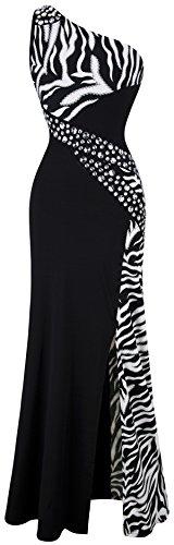 Angel-fashions Women's One Shoulder Zebra Gemstones Splicing Evening Dress Large Black