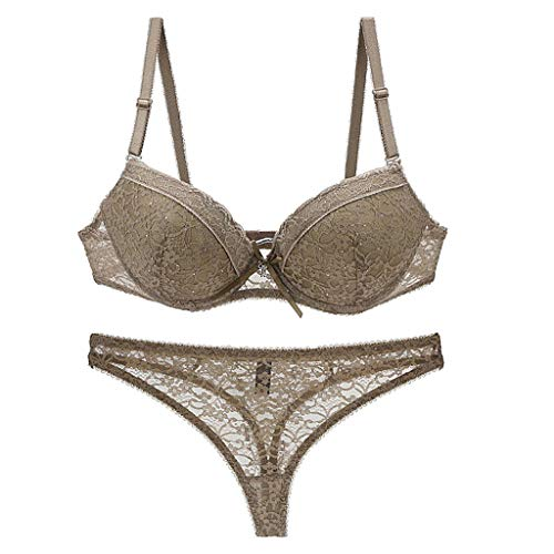 TIFENNY Fashionable Sexy Drill Decoration Lace Bra Set Ladies Translucent Gather Bra Underwear Shoulder Strap Adjustable -