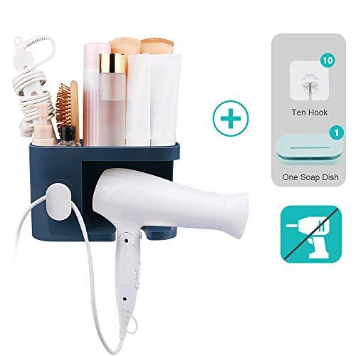 AriTan Wall Mounted Hair Dryer Holder Rack, No Drilling Styling Tool Organizer Storage Basket for Bathroom, Give 10 Hooks + 1 Soap Holder