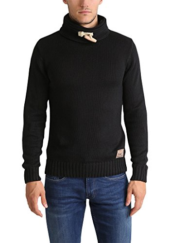 Maille Droit Pour over solid Homme Pizi Tricot 9000 Pull Col Black Grosse Avec Pull En w7CqI