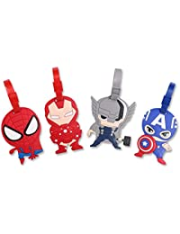 4 Pcs Set Avengers Captain America Iron Man Spiderman Silicone Travel Luggage Baggage Identification Labels ID Tag for Bag Suitcase Plane Cruise Ships with Belt Strap