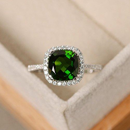 natural chrome diopside rings cushion cut sterling silver for women engagement green jewelry