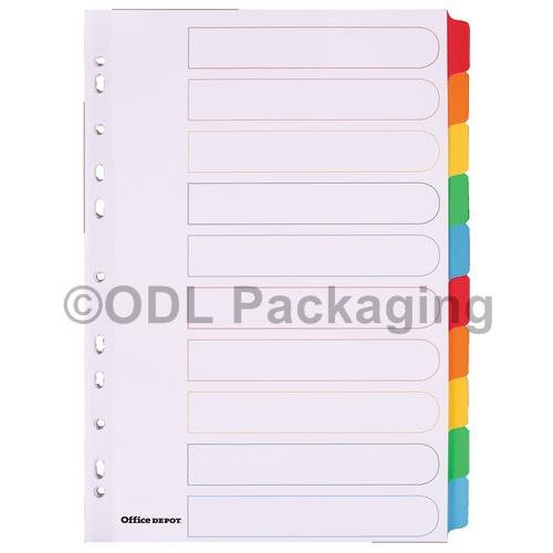 10 Part Mylar Tab Colour Dividers Set of 25 Office Depot