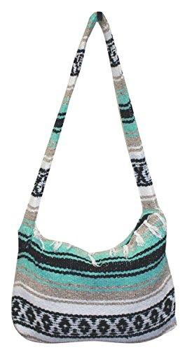 Del Mex Mexican Falsa Blanket Purse Messenger Tote Bag with Fringe (Tan Messenger Style Handbag)