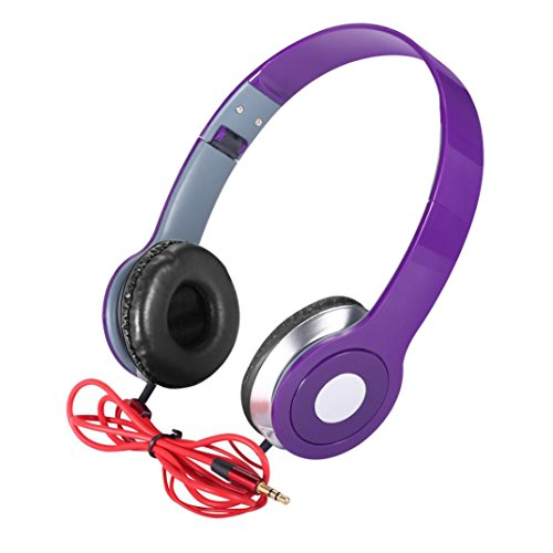 Price comparison product image Boofab Over-Ear Teens Kids Childs Foldable DJ Headphones 3.5mm Wired Game Earphones for apple iPhone 8 8 plus 7 7 plus and Samsung Galaxy Note8 S7 S8 and Android Phones (Purple)