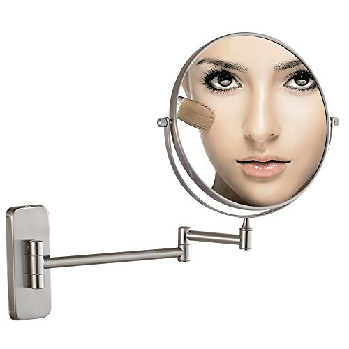 GURUN 8-Inch Double-Sided Wall Mount Makeup Mirrors with 7x Magnification, Nickel Finished M1406N(8in,7x) by GURUN