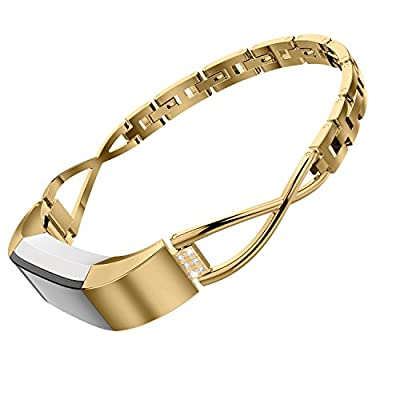 Wearlizer Compatible Fitbit Alta Bands Small Silver Rose Gold Fitbit Alta hr Women Metal Replacement Bands Accessories Straps Bracelet Bangle Wrist Bands Small/Large
