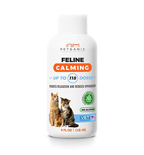 Petganic 100% Natural Cat Calming Aid - Naturally Reduce Anxiety & Stress in Your Cat - Easy to Swallow Liquid