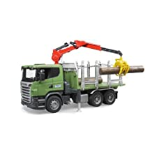Bruder SCANIA R-Series Timber Truck with Loading Crane and 3 Trunks by Bruder