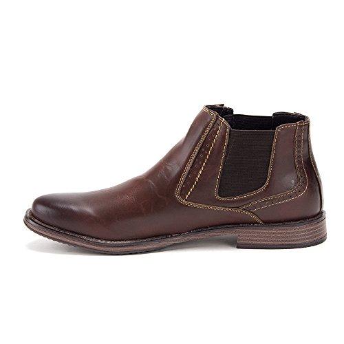 Mens Hank Ankle High Slip On Distressed Chelsea Dress Boots Coffee IyEgPaU