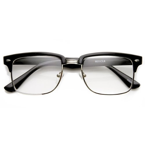 zeroUV - Modified Classic Square Half Frame Clear Lens Horn Rimmed Sunglasses - Frame Half Black Glasses