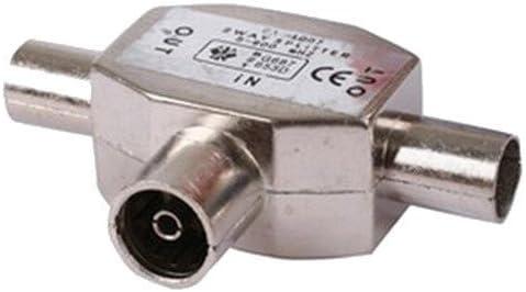 Solent Cables - Bifurcador coaxial para antena de televisor, 1 acople coaxial y 2 enchufes coaxiales