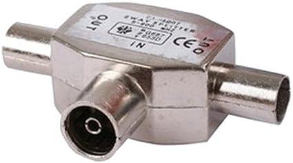 Sdoppiatore antenna presa coassiale Solent Cables da 1 presa coassiale con connettore femmina a 2 uscite con connettori maschio