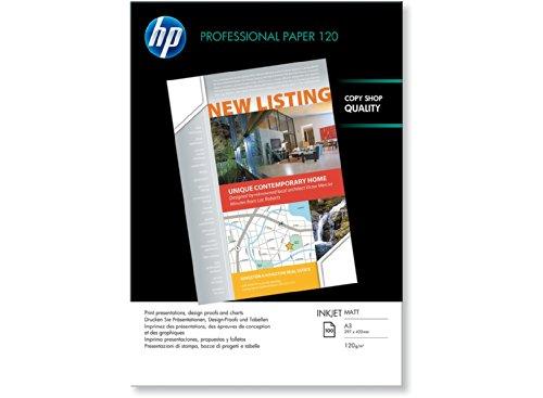 HP Q6594A Professional Inkjet-Papier matt (beidseitig beschichtet) 120g/m2 A3 100 Blatt, weiß
