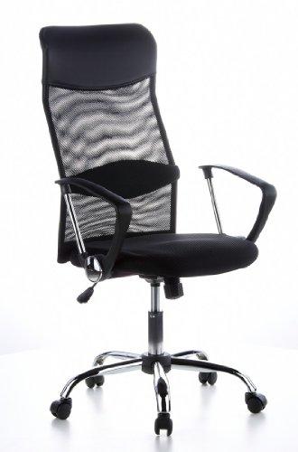 HJH OFFICE 621100 Bürostuhl / Chefsessel Aria High Netz/PU, schwarz