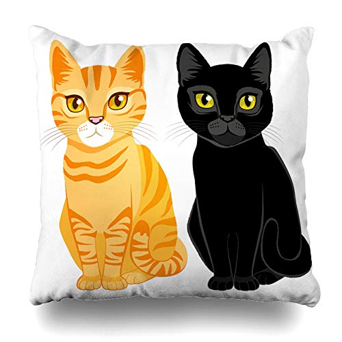 Black Tabby Cat - Ahawoso Throw Pillow Cover Square 18x18 Inches Black Yellow Cute Cats On Orange Tabby Sitting Two Hair Cushion Case Home Decor Pillowcase