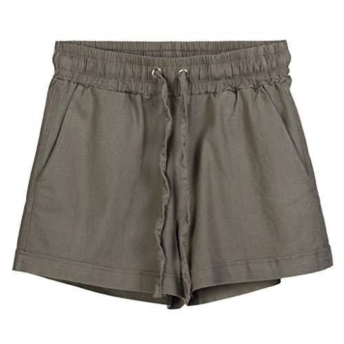 ♥Women's High Waist Short,Ladies Summer Sport Casual Loose Solid Elastic Waist Cotton Tie Trouser Beach Pants