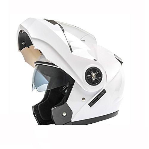 Casco de doble lente Casco de moto eléctrica Casco de sol de verano para hombre y mujer (Color : A, Size : Head...