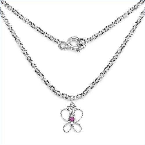 Bijoux Schmidt-Collier / pendentif chaîne Ruby Papillon Argent rhodié