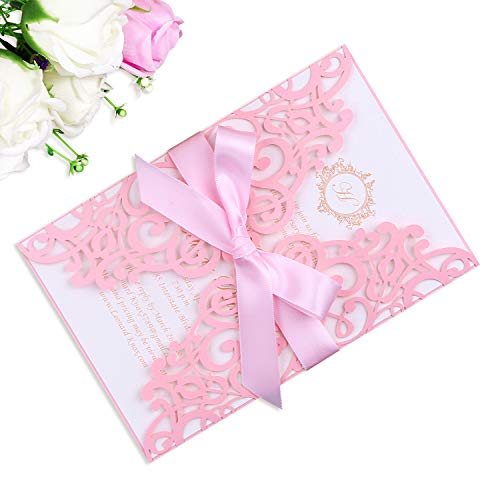 PONATIA 25PCS 5.12 x 7.1 '' Laser Cut Wedding Invitations Cards with Light Pink Ribbons for Wedding Bridal Shower Engagement Birthday Graduation Invitation Cards (Pink)